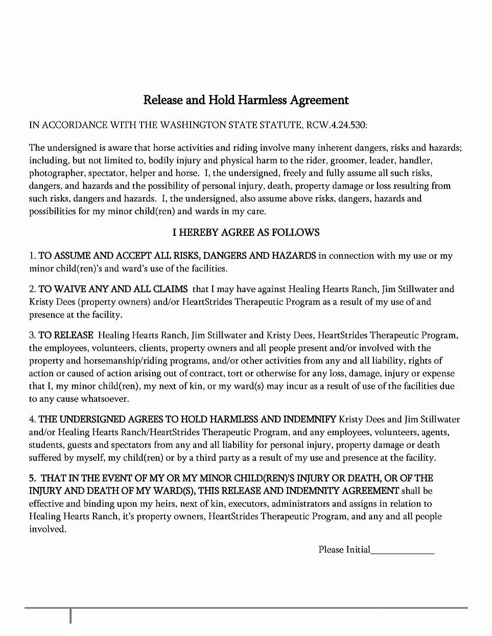 Hold Harmless Agreement Sample Wording Luxury Making Hold Harmless Agreement Template for Different Purposes
