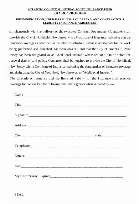 Hold Harmless Agreement Sample Wording New 14 Hold Harmless Agreement Templates Free Wording Pdf