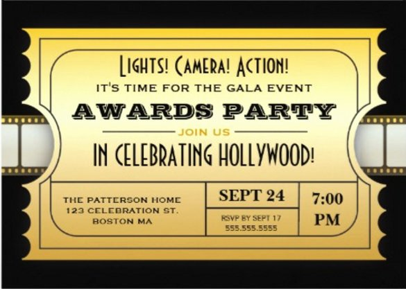 Hollywood Invitation Template Free Awesome 15 Award Invitation Templates Psd Word Ai