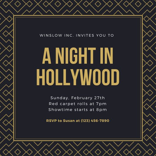 Hollywood Invitation Template Free Awesome Customize 48 Hollywood Invitation Templates Online Canva