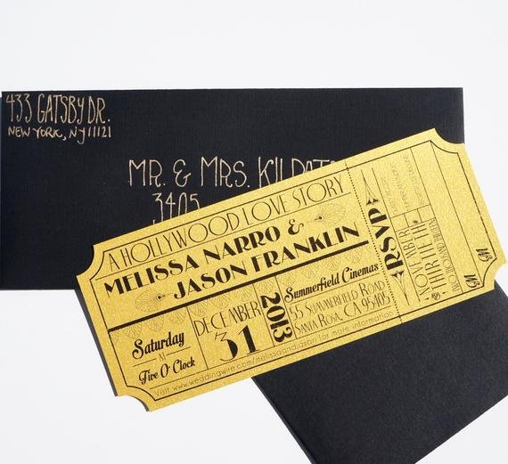 Hollywood Invitation Template Free Awesome Old Hollywood Art Deco Gold Movie Ticket Invitation Sample