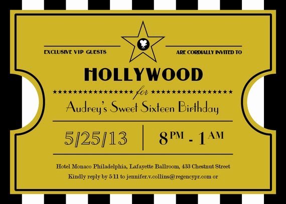 Hollywood Invitation Template Free Awesome Printable Hollywood Sweet Sixteen Ticket Invitation