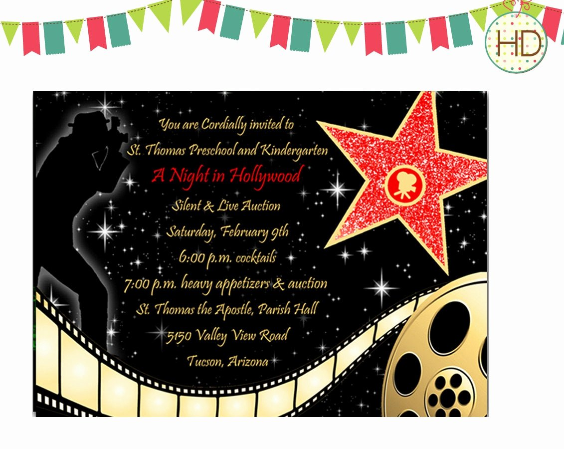 Hollywood Invitation Template Free Beautiful 40th Birthday Ideas Hollywood Birthday Invitation