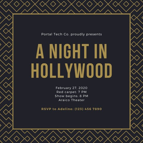 Hollywood Invitation Template Free Best Of Customize 38 Hollywood Invitation Templates Online Canva
