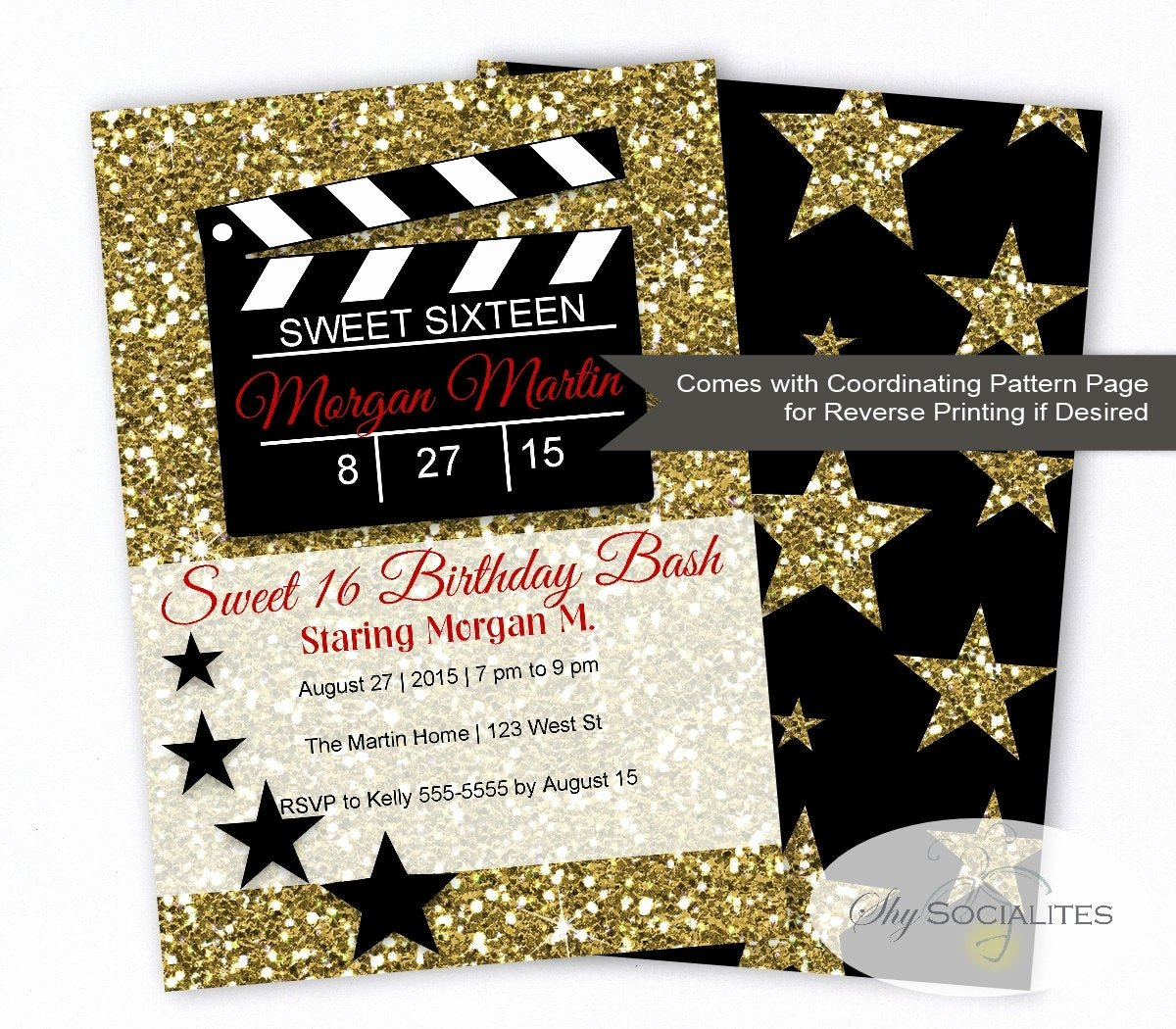 Hollywood Invitation Template Free Best Of Hollywood Glamour Movie Party Invitation Sweet Sixteen