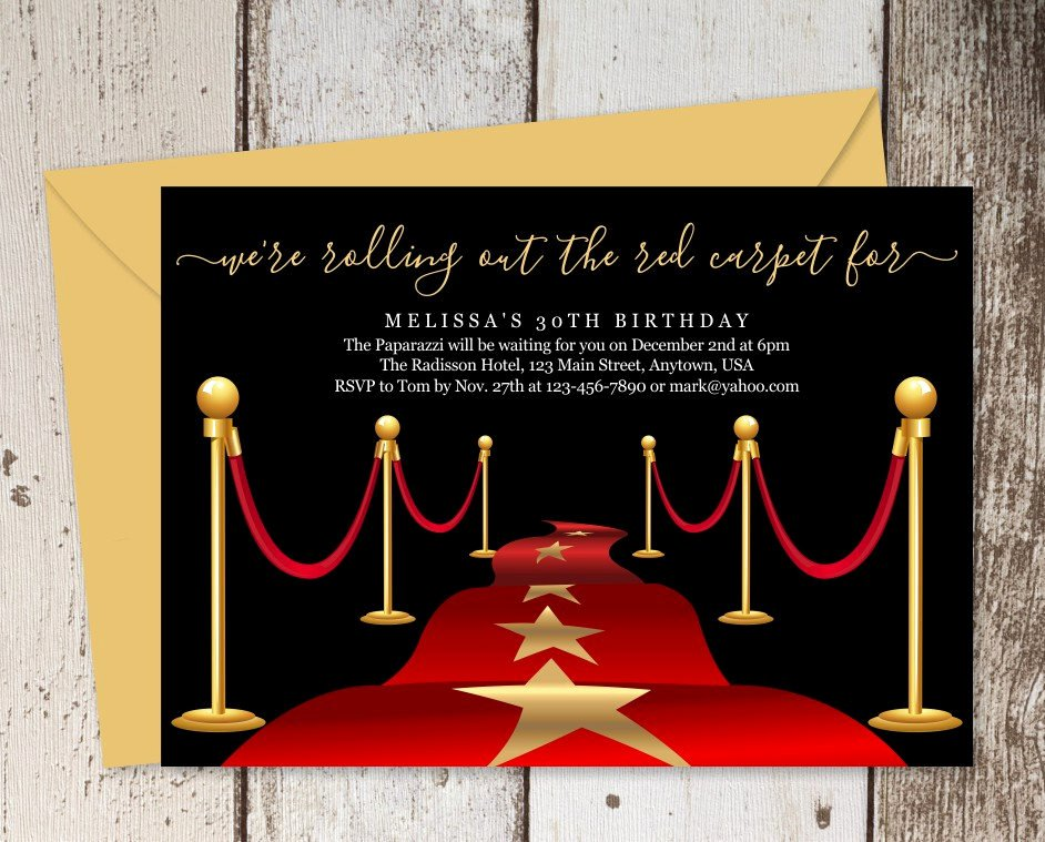 Hollywood Invitation Template Free Elegant Printable Red Carpet Invitation Template Hollywood theme