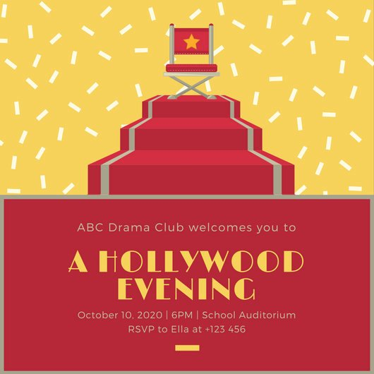 Hollywood Invitation Template Free Fresh Customize 48 Hollywood Invitation Templates Online Canva