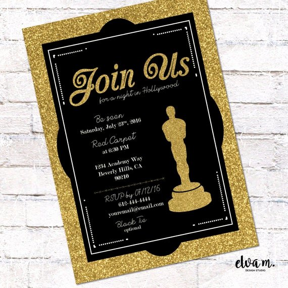 Hollywood Invitation Template Free Inspirational Hollywood Oscar Party Invitation Academy Awards Invite