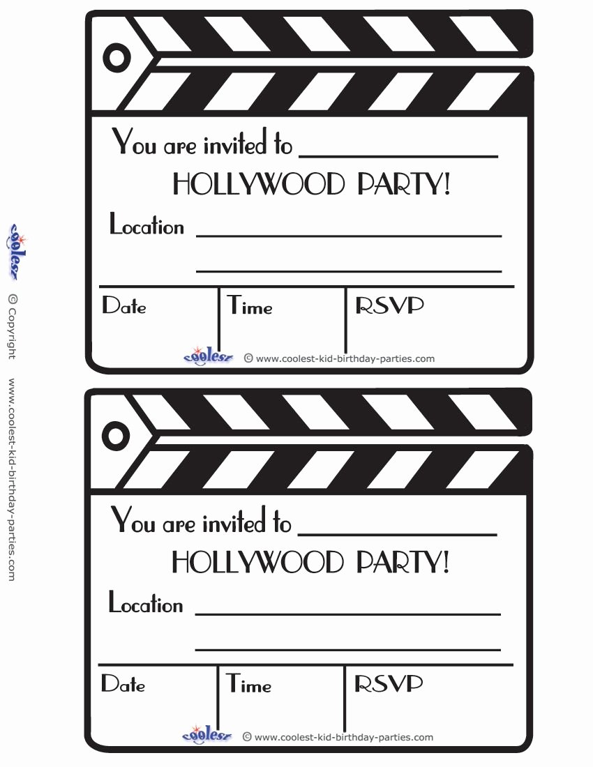 Hollywood Invitation Template Free Luxury Printable Clapboard Invitations Coolest Free Printables