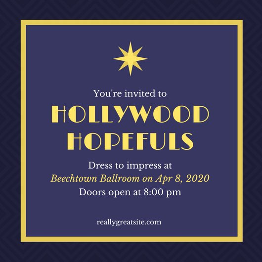 Hollywood Invitation Template Free New Customize 48 Hollywood Invitation Templates Online Canva