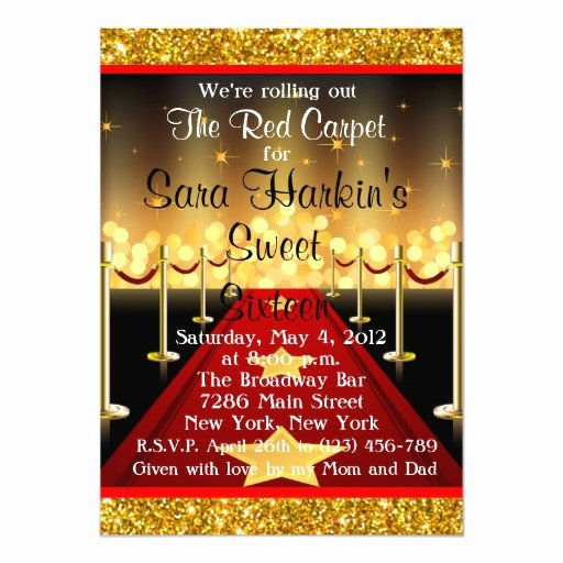"Hollywood Invitation Template Free Unique Red Carpet Hollywood Sweet 16 Birthday Invite 5"" X 7"