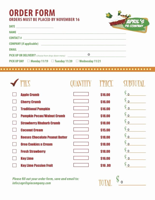 Home Bakery Cake order form Awesome Part 2 Of A Custom Menu order form We Created for