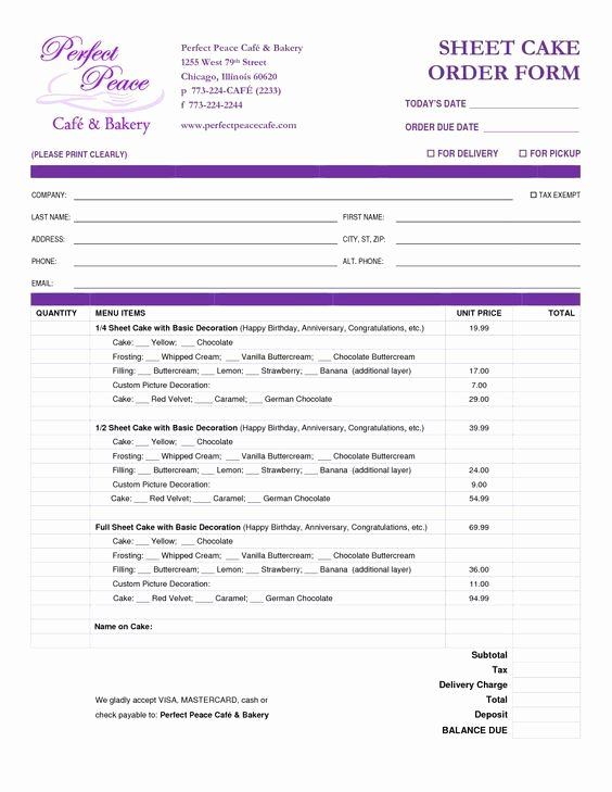 Home Bakery Cake order form Best Of Cake order form Template Free Google Search