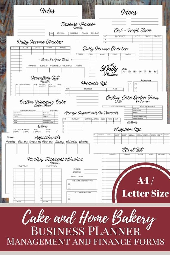 Home Bakery Cake order form Inspirational Best 25 Business Planner Ideas On Pinterest
