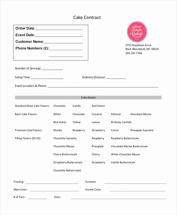 Home Bakery Cake order form Luxury Sample Cupcake order form 10 Free Documents In Pdf