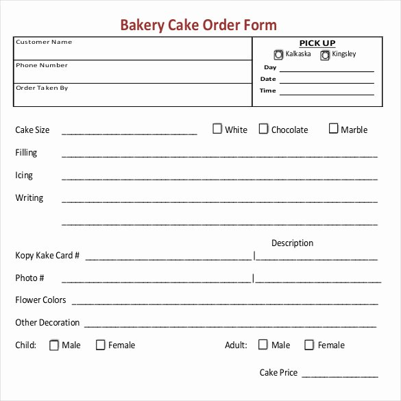 Home Bakery Cake order form Unique 16 Bakery order Templates Google Docs Pages