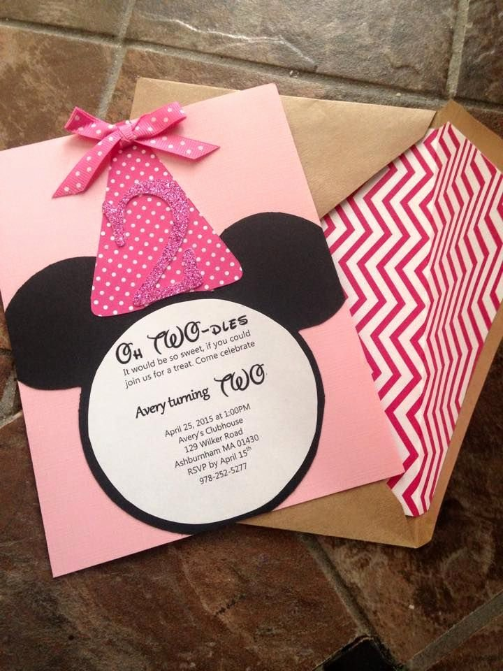 Homemade Minnie Mouse Invitations Awesome Diy Minnie Mouse Birthday Invites Oh Twodles