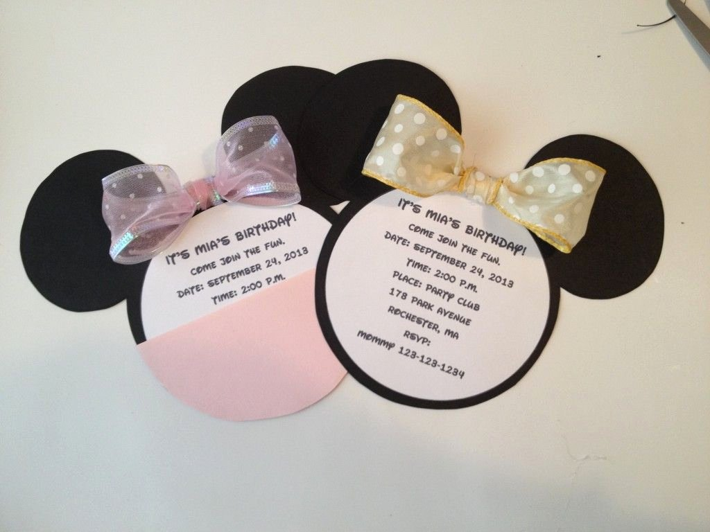 Homemade Minnie Mouse Invitations Awesome Diy Minnie Mouse Invitation with Real Bow Free Minnie