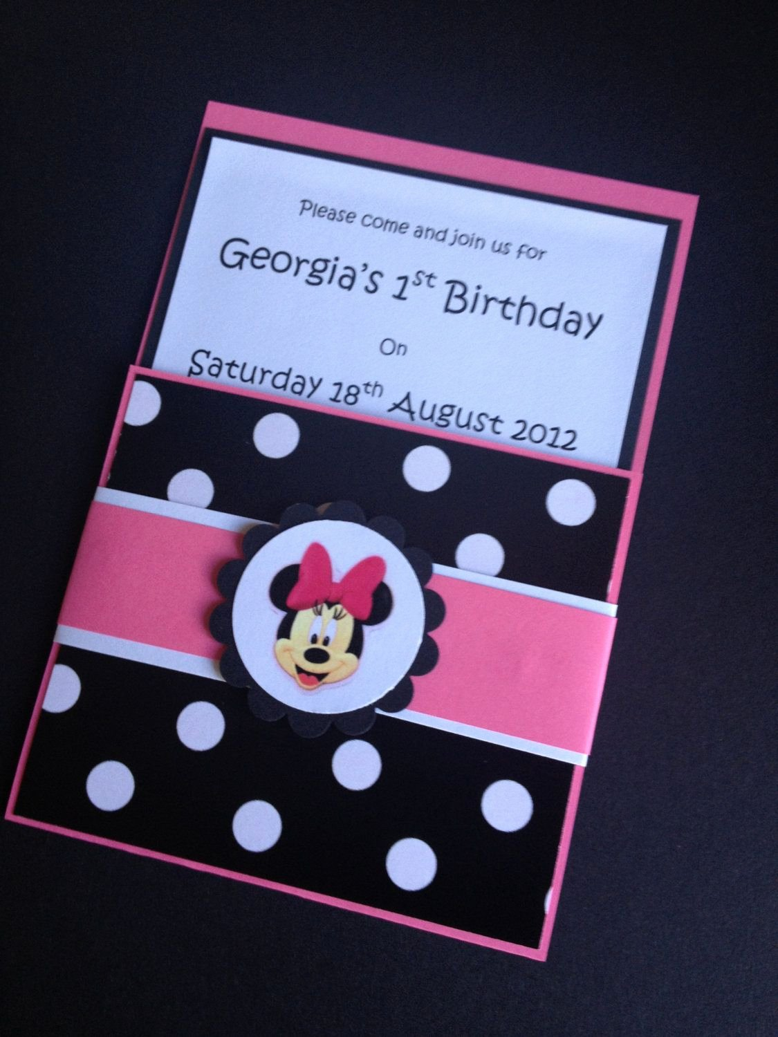Homemade Minnie Mouse Invitations Awesome Handmade Pink Black Minnie Mouse Party Invitations