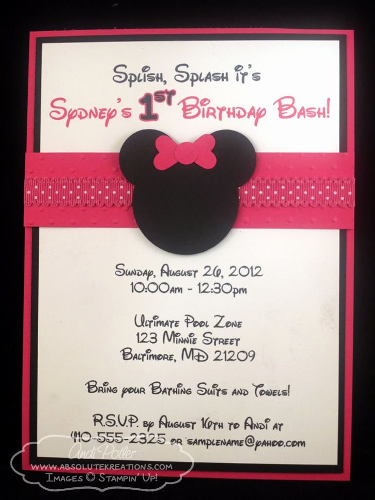 Homemade Minnie Mouse Invitations Beautiful andi Potler Independent Stampin Up Demonstrator