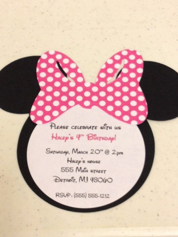 Homemade Minnie Mouse Invitations Elegant 10 Handmade Minnie Mouse Invitations Polka Dot Bow