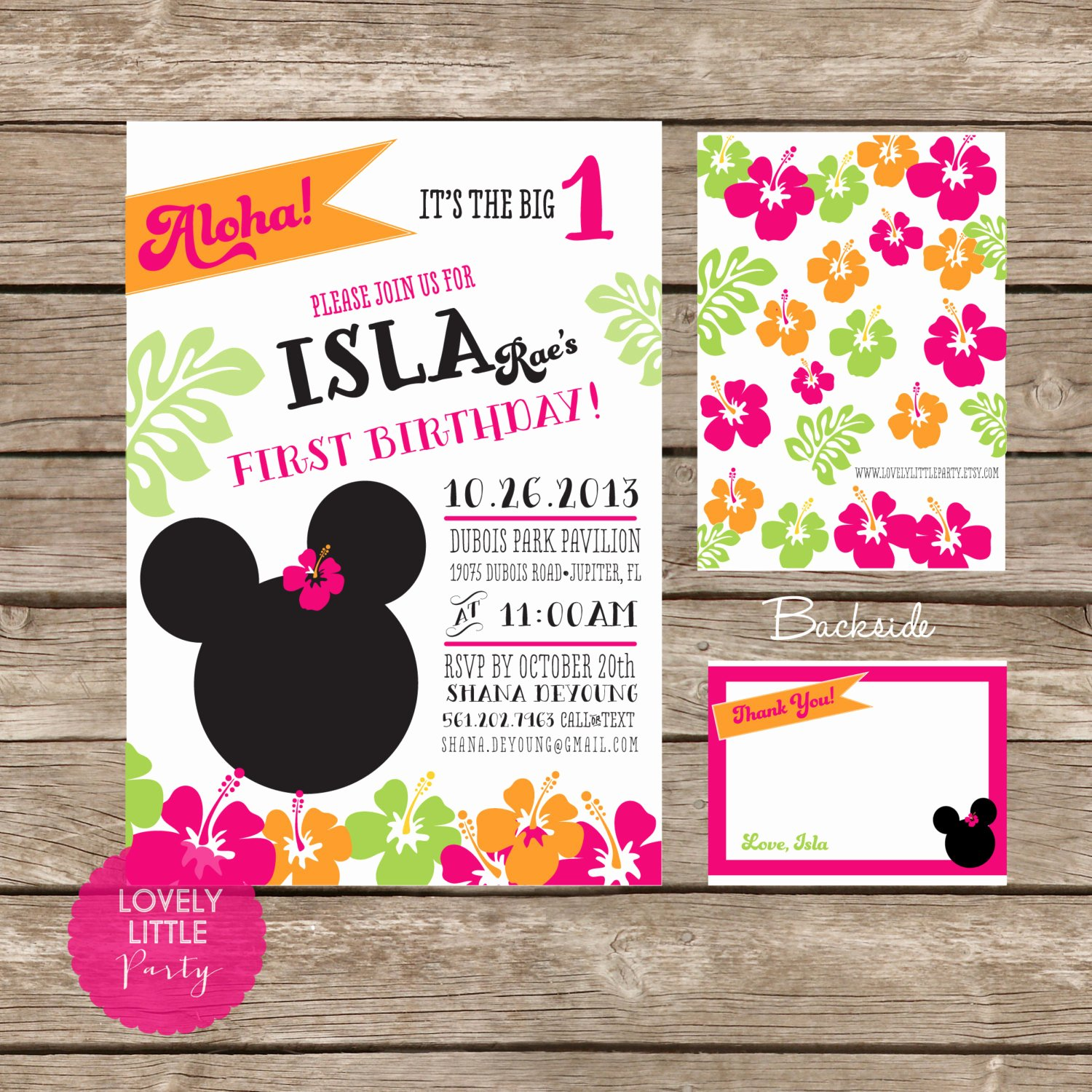 Homemade Minnie Mouse Invitations Elegant Diy Minnie Mouse Luau Invitation Kit Invite and Thank You