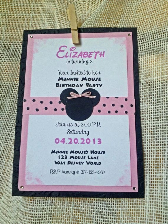 Homemade Minnie Mouse Invitations Fresh 1000 Images About Minnie Mouse Birthday On Pinterest