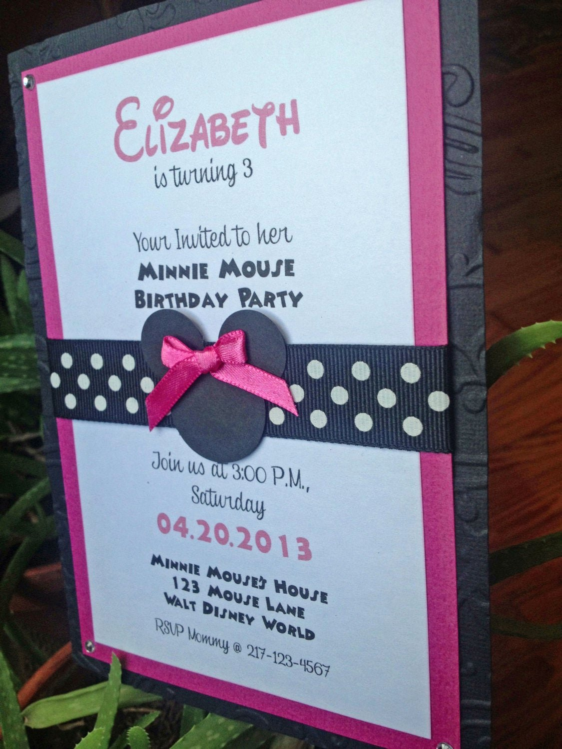 Homemade Minnie Mouse Invitations Fresh Handmade Minnie Mouse Birthday Invitation by thepapercutshop