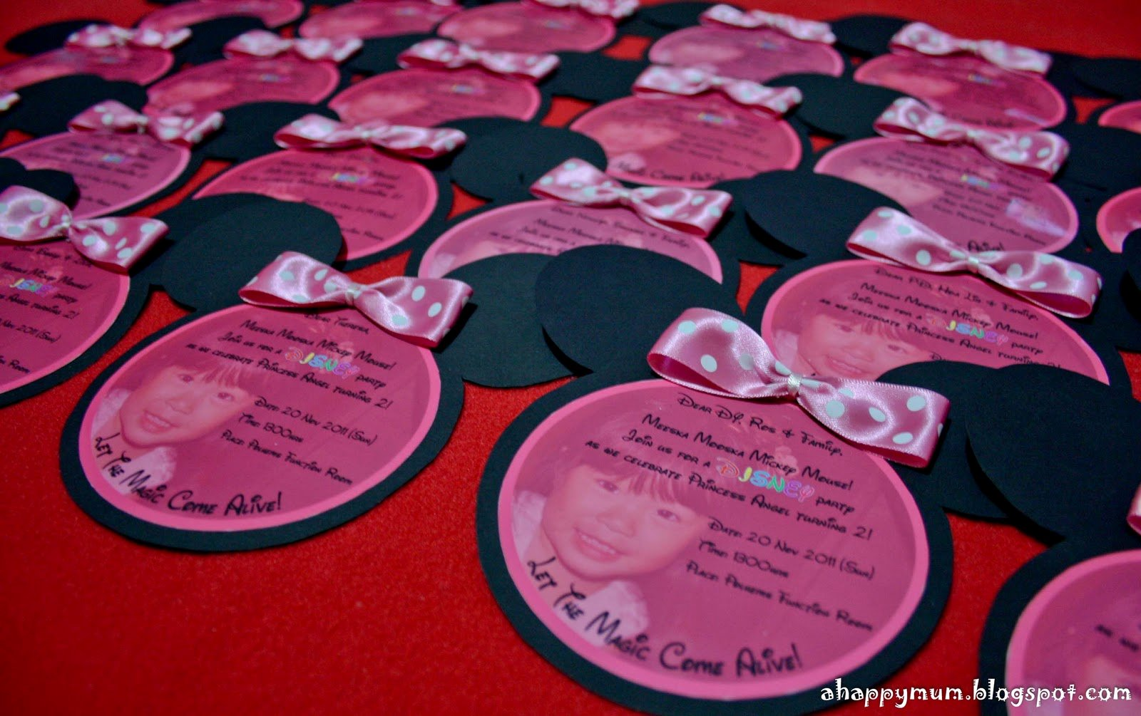 Homemade Minnie Mouse Invitations Lovely A Happy Mum