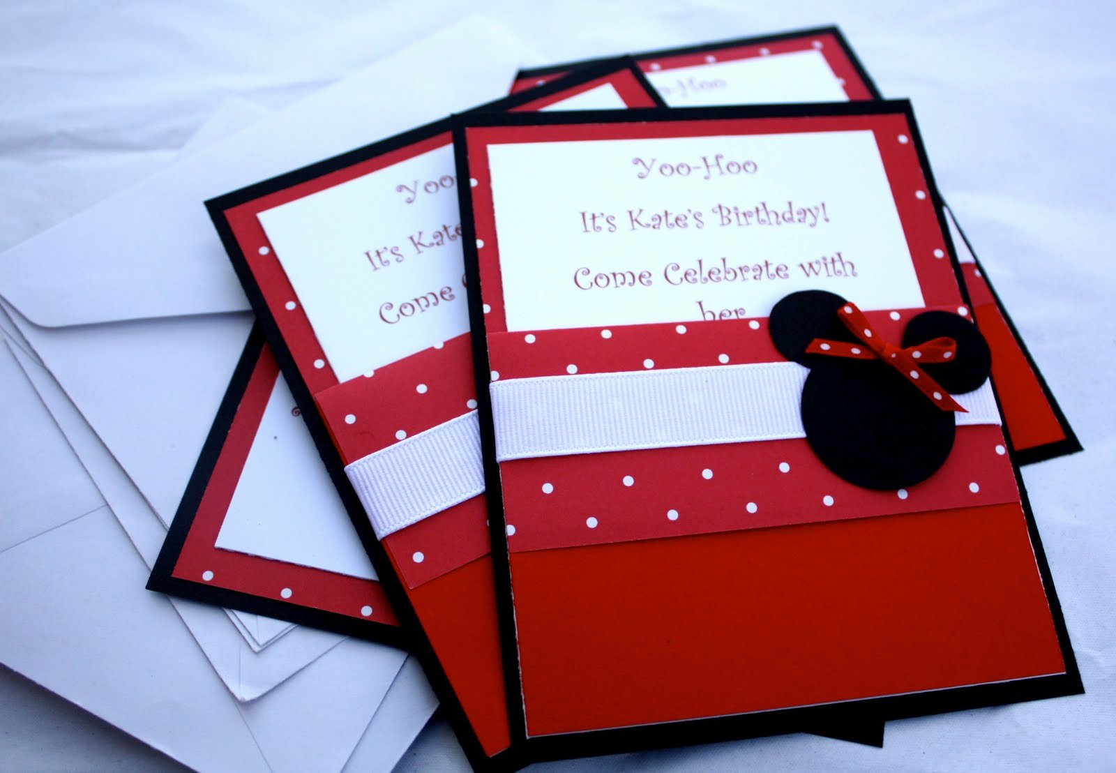 Homemade Minnie Mouse Invitations Lovely at Second Street Handmade Minnie Party
