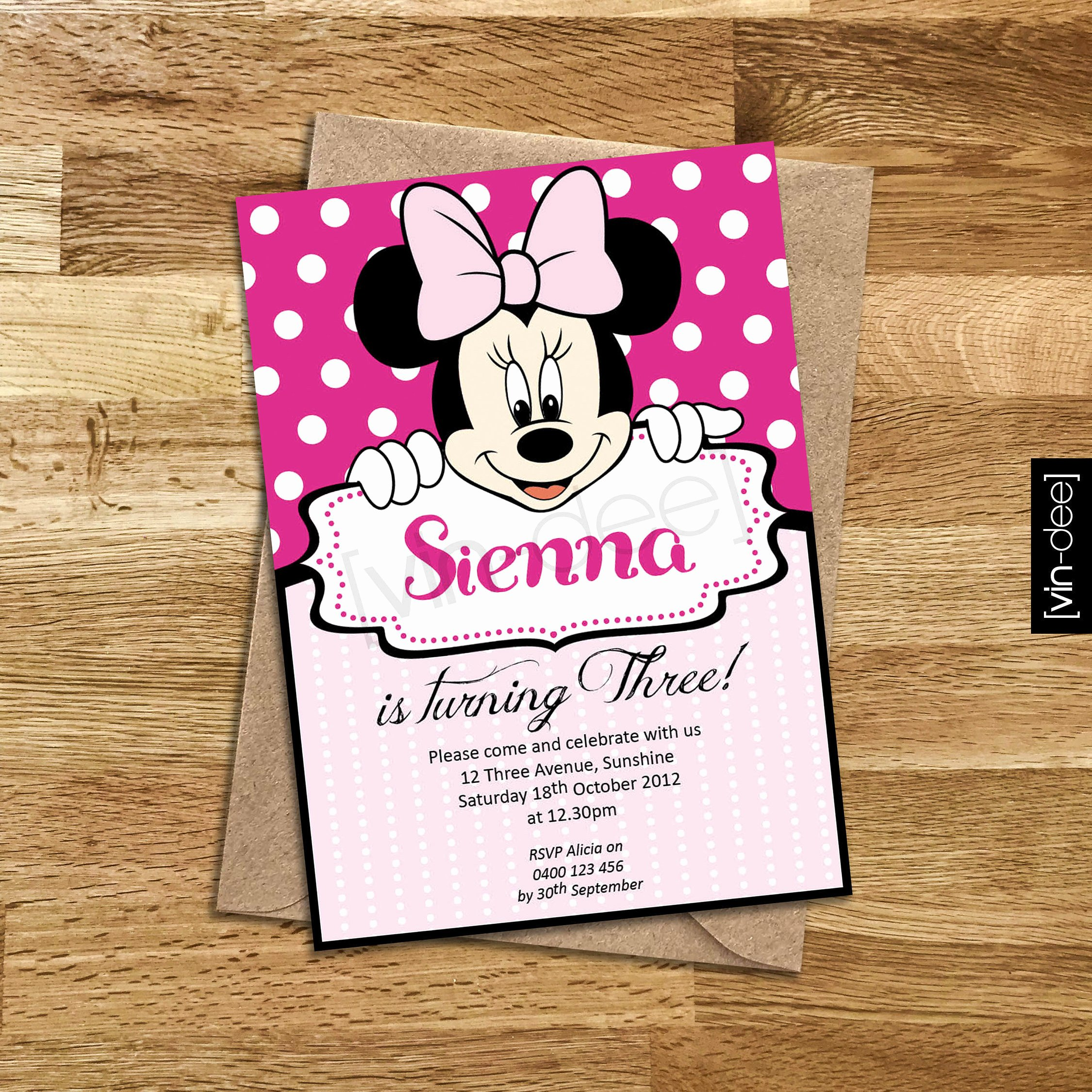 Homemade Minnie Mouse Invitations Lovely Minnie Mouse Birthday Invitation Diy Printable