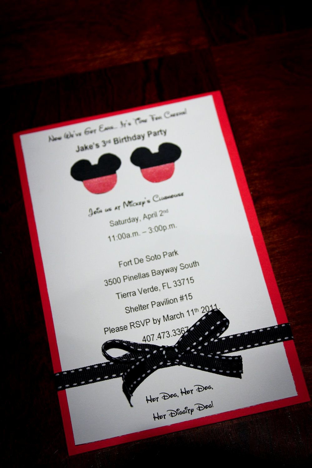Homemade Minnie Mouse Invitations Luxury Disney Mouse Mickey or Minnie Homemade Birthday