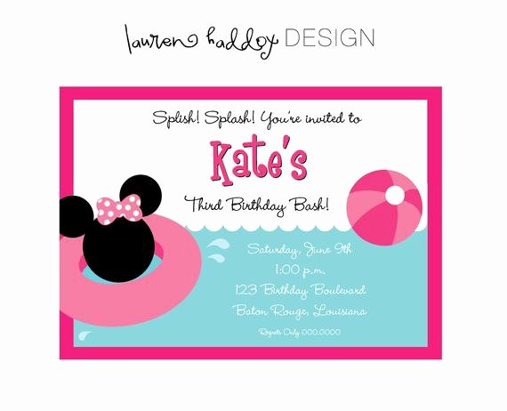 Homemade Minnie Mouse Invitations Luxury Diy Minnie Mouse Pool Party Birthday Invitation