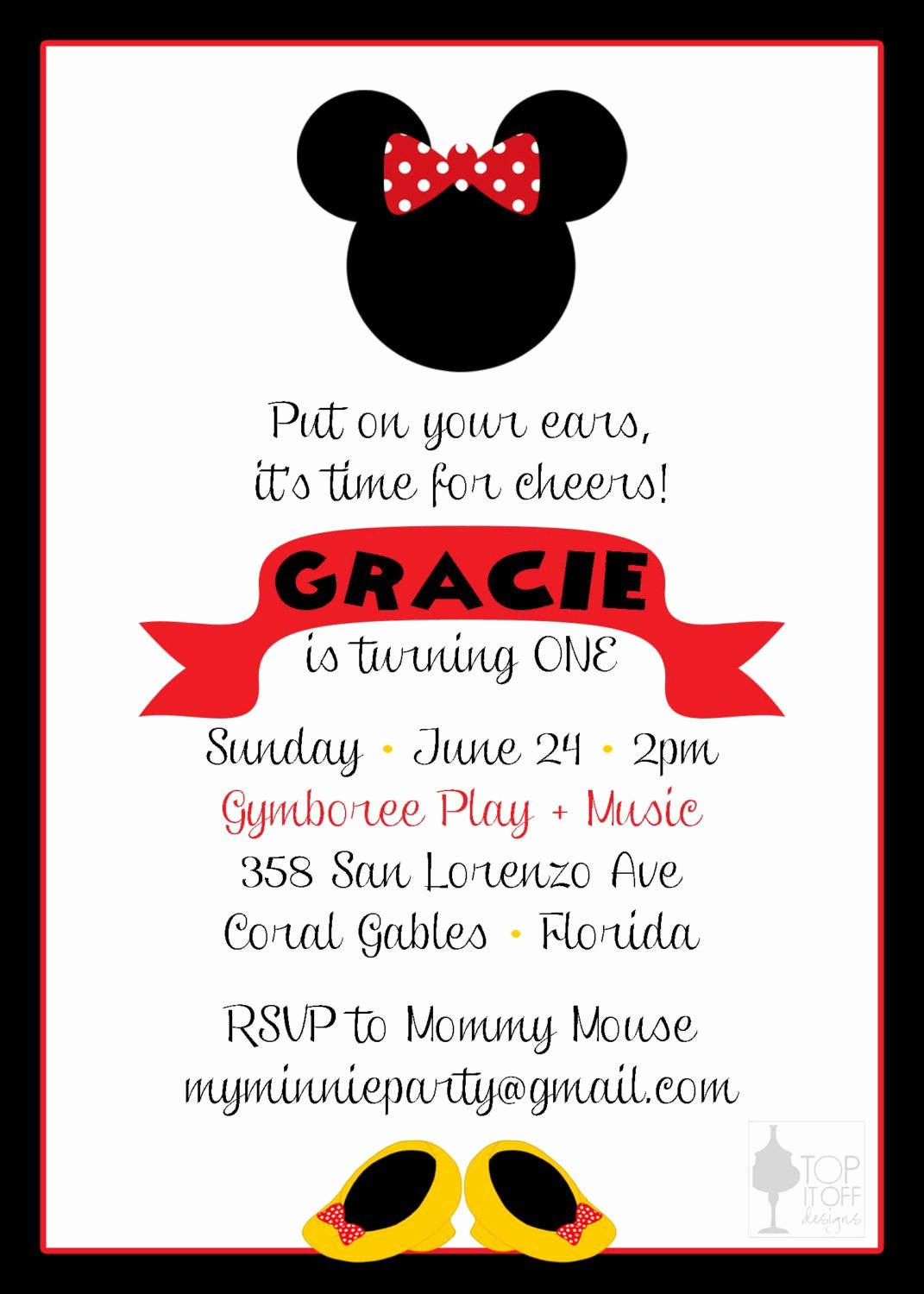 Homemade Minnie Mouse Invitations Luxury Minnie and Mickey Mouse Birthday Invitation by