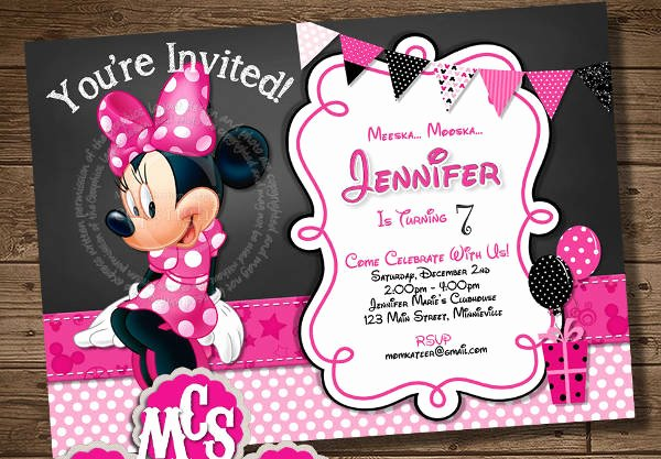 Homemade Minnie Mouse Invitations New 71 Printable Birthday Invitation Templates Word Psd