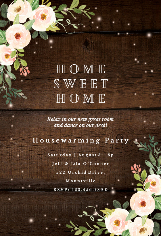 House Warming Ceremony Invitation Best Of Sparkling Rustic Floral Housewarming Invitation Template
