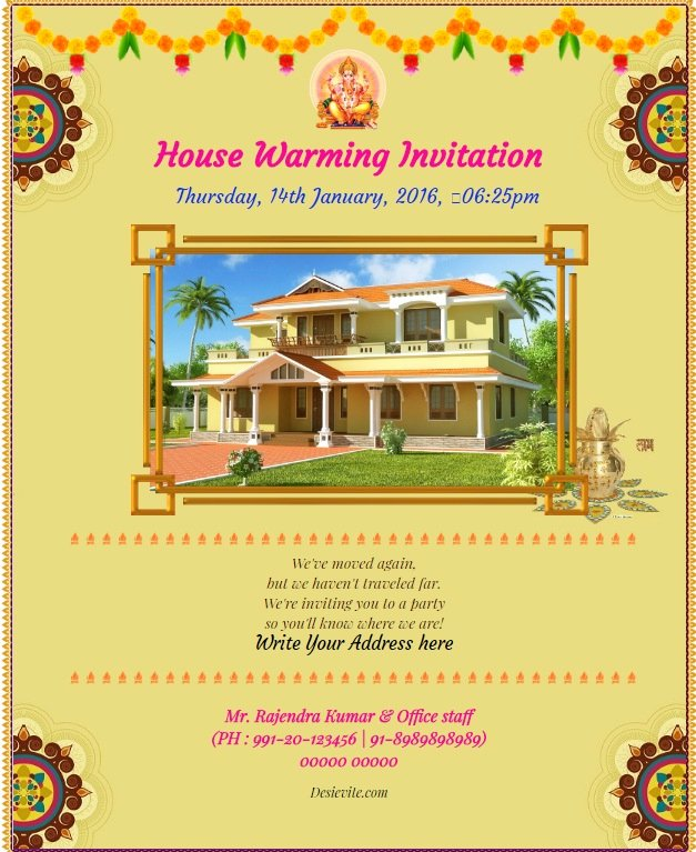 House Warming Ceremony Invitation Lovely Vastu Invitation Card