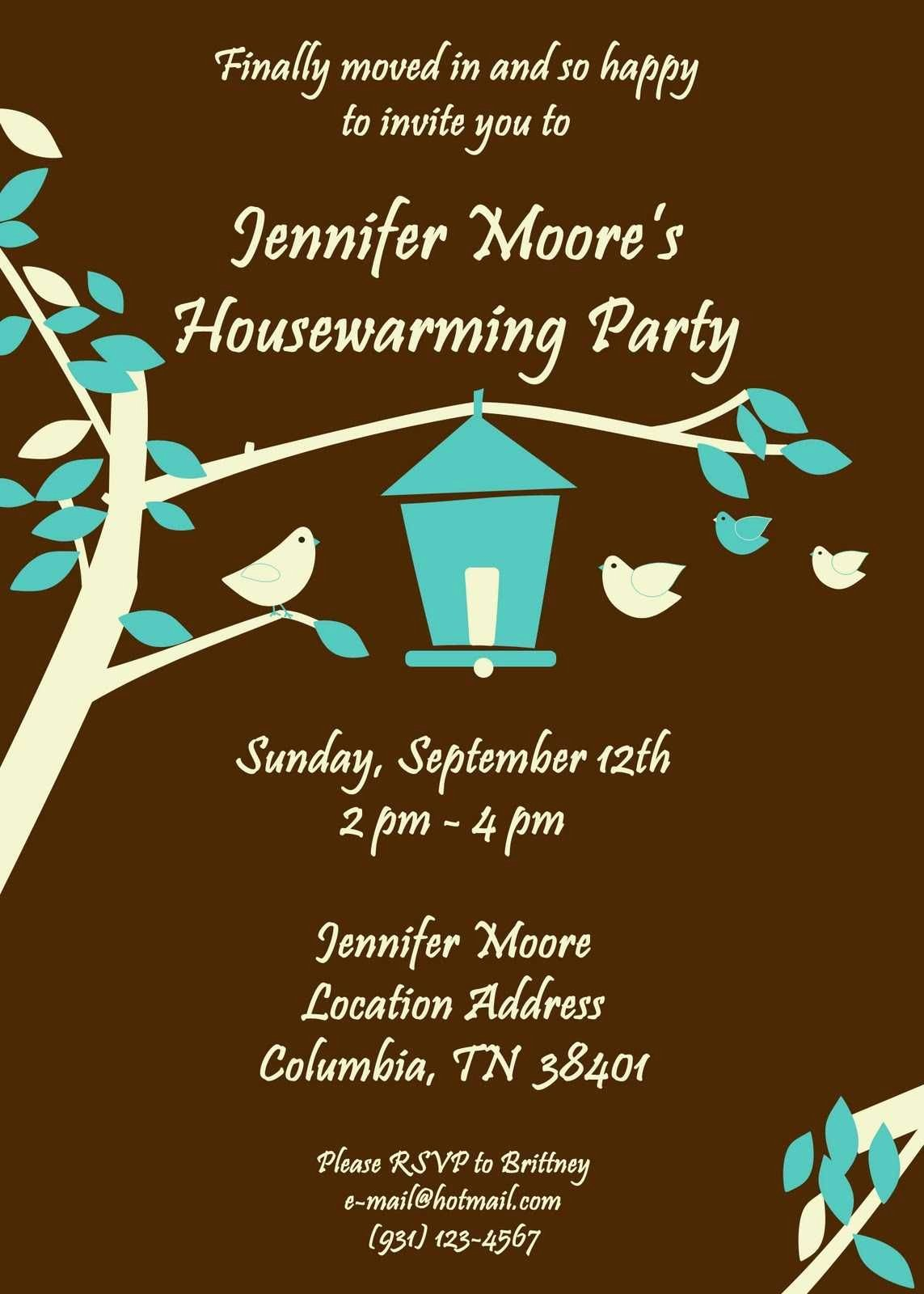 House Warming Ceremony Invitation New Little Bird Brown Housewarming Party Invitations
