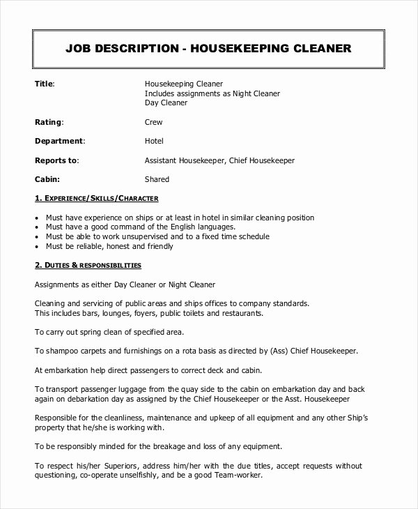 Housekeeping Supervisors Duties and Responsibilities Beautiful Housekeeper Job Description Example 14 Free Word Pdf