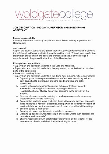 Housekeeping Supervisors Duties and Responsibilities Best Of Basic Generic Job Description Senior Housekeeping