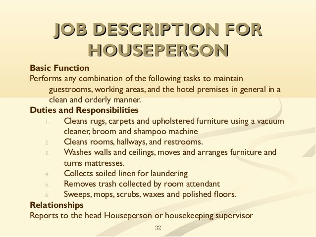 Housekeeping Supervisors Duties and Responsibilities Best Of Unit 2 Planning and organizing the Hk Department