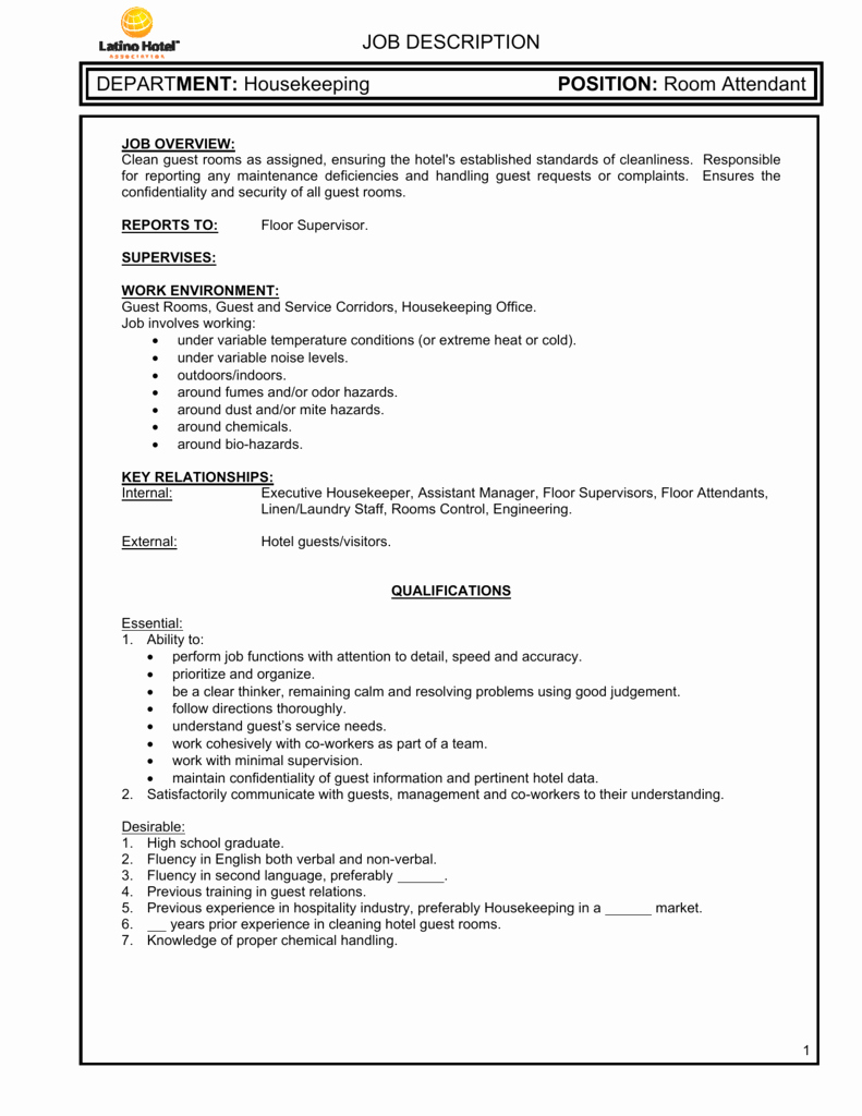 Housekeeping Supervisors Duties and Responsibilities Elegant Housekeeping Room attendant Job Description
