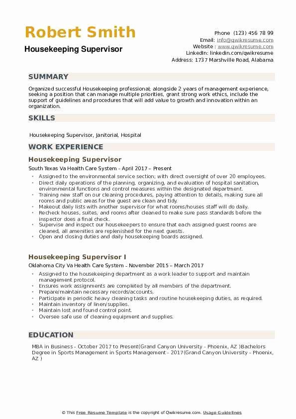 Housekeeping Supervisors Duties and Responsibilities Elegant Housekeeping Supervisor Resume Samples