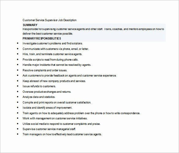 Housekeeping Supervisors Duties and Responsibilities Inspirational 10 Supervisor Job Description Templates – Free Sample
