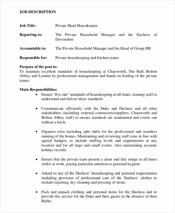 Housekeeping Supervisors Duties and Responsibilities Luxury Housekeeper Job Description Example 14 Free Word Pdf