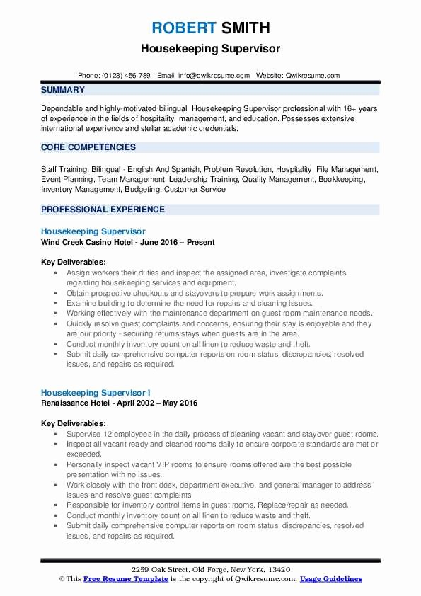 Housekeeping Supervisors Duties and Responsibilities Luxury Housekeeping Supervisor Resume Samples