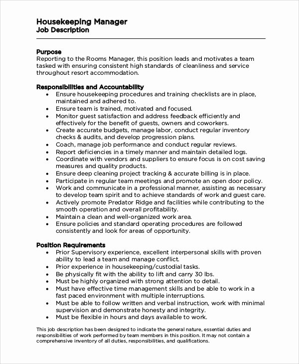 Housekeeping Supervisors Duties and Responsibilities New Sample Housekeeping Job Description 8 Examples In Pdf Word