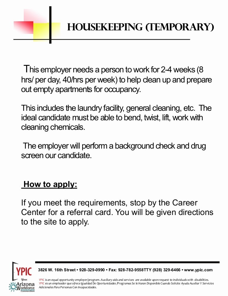 Housekeeping Supervisors Duties and Responsibilities Unique Housekeeping Job Description