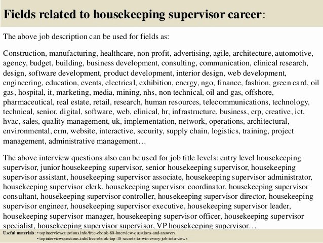 Housekeeping Supervisors Duties and Responsibilities Unique top 10 Housekeeping Supervisor Interview Questions and Answers