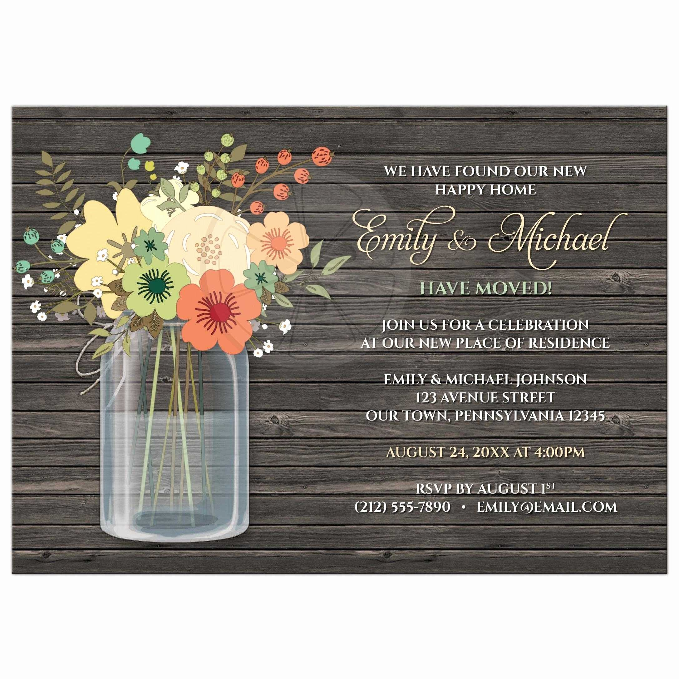 Housewarming Images for Invitation Beautiful Housewarming Invitations Rustic Floral Wood Mason Jar